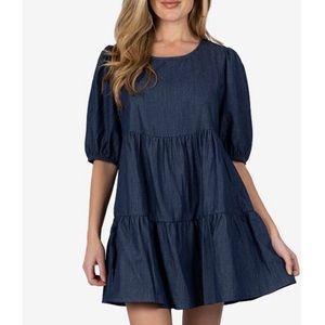 ❤️NWT $49 Cotton Tiered Denim Dress XS